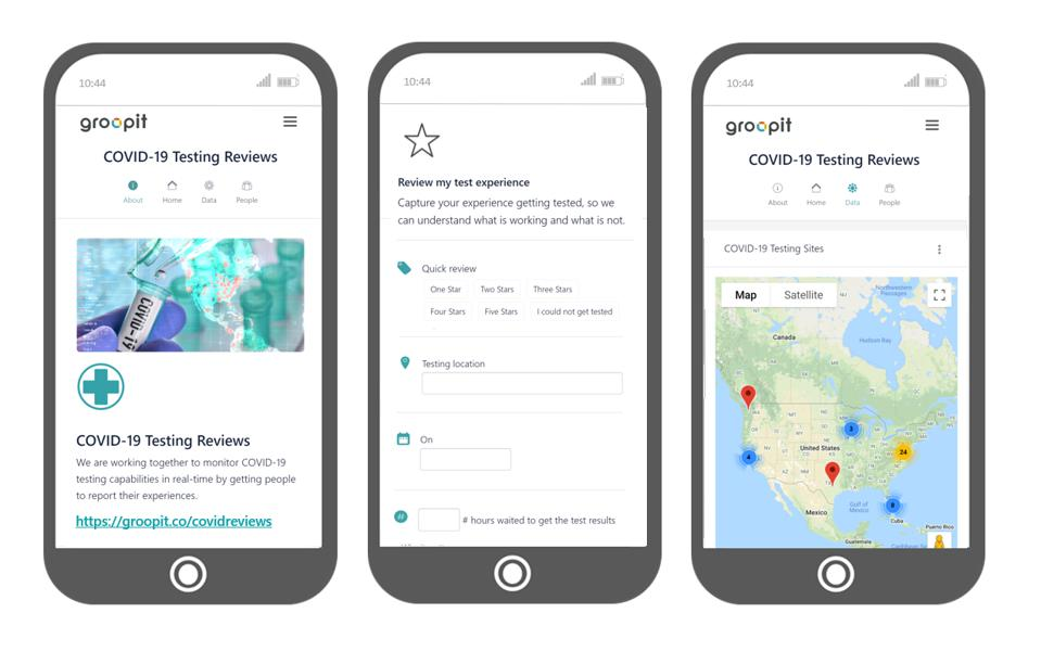 Groopit's Covid-19 testing review app.