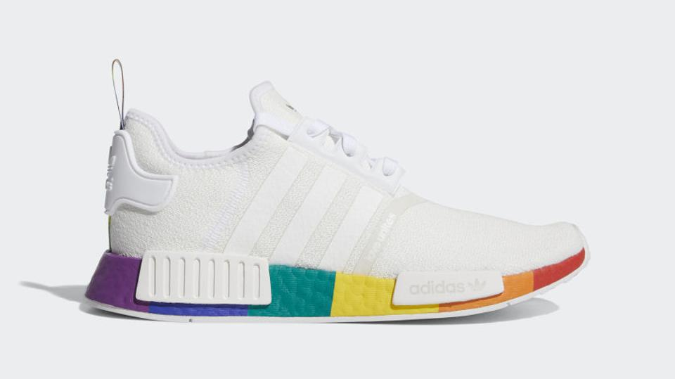 Adidas sneakers with colorful stripes