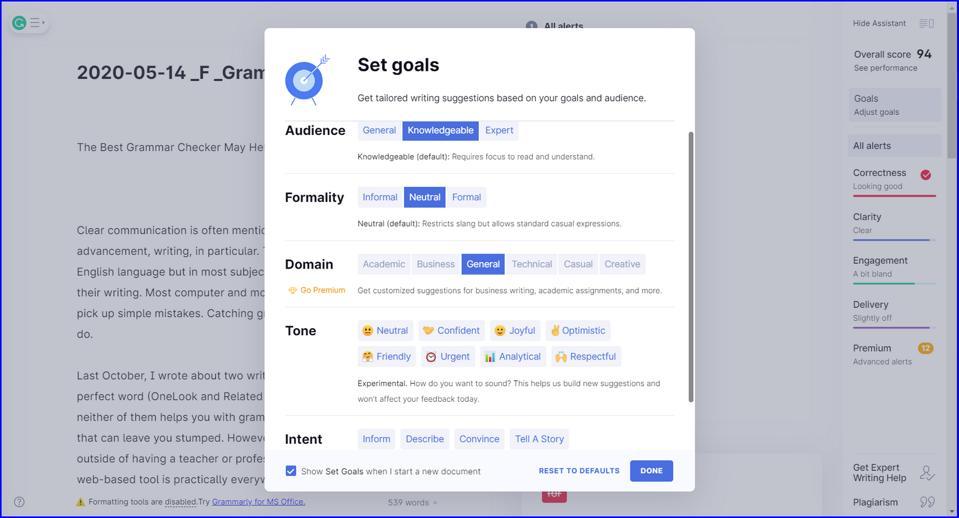 Grammarly Set Goals screenshot TJ McCue