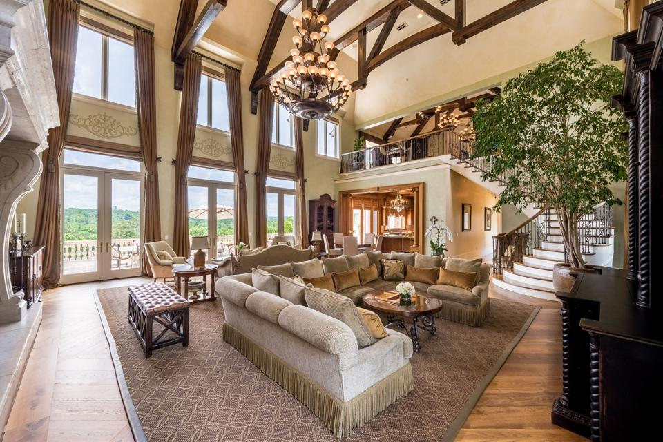 Spacious living room in mansion