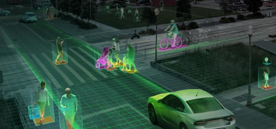 Self Driving Car on pedestrian walkway
