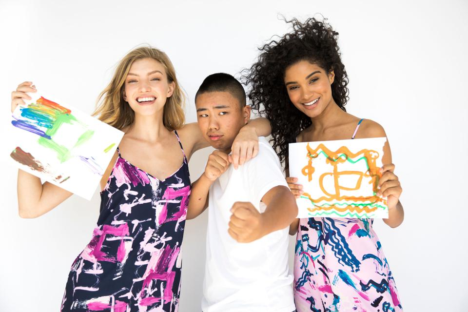 Allen Li and two models at the photoshoot.
