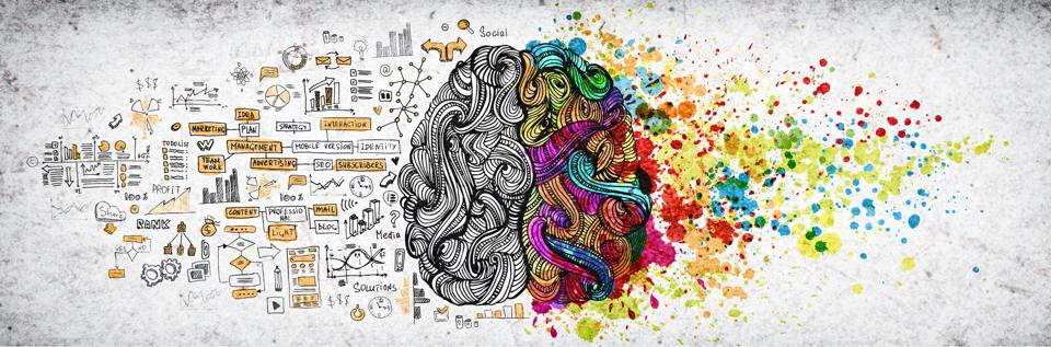 Left right human brain concept, textured illustration. Creative left and right part of human brain, emotial and logic parts concept with social and business doodle illustration of left side, and art paint splashes of the right side