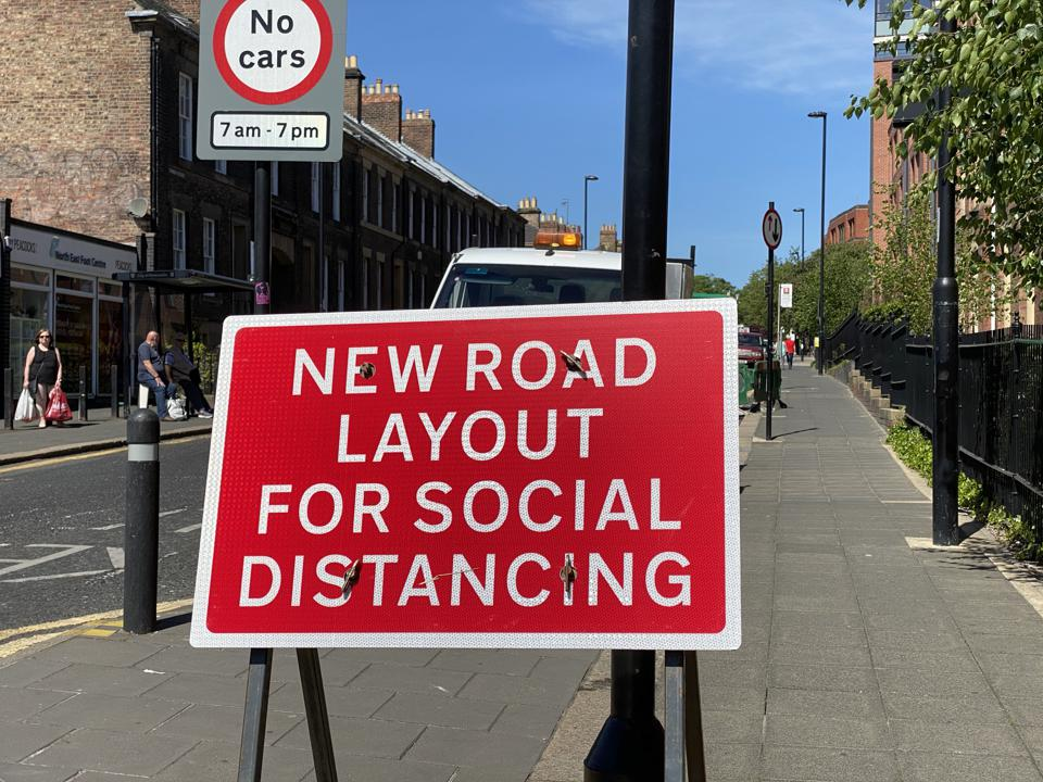 New road lay-out sign