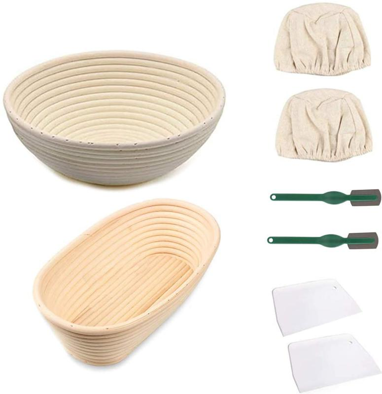 Bread Proofing Basket Set with Cloth Liner, Scraper, Bread Cutter