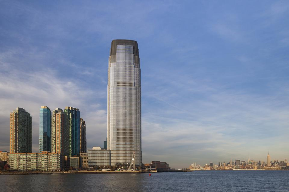 Goldman Sachs Tower, filled with new offices the firm opened in 2004, looms large over Jersey City, New Jersey.