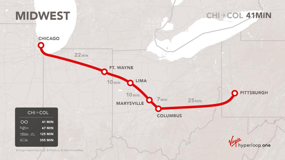 A map showing the proposed Midwest Connect hyperloop corridor from Chicago to Pittsburgh.