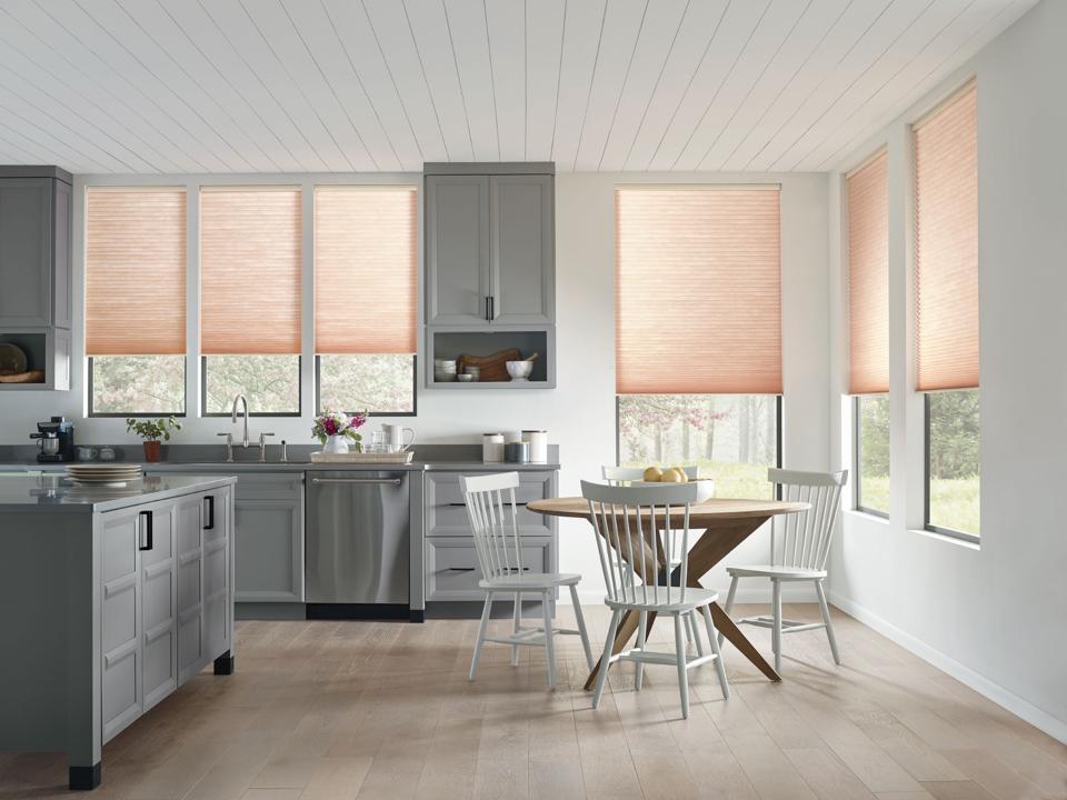 Motorized window coverings in a kitchen