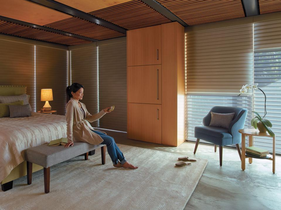 Smart shades in a bedroom