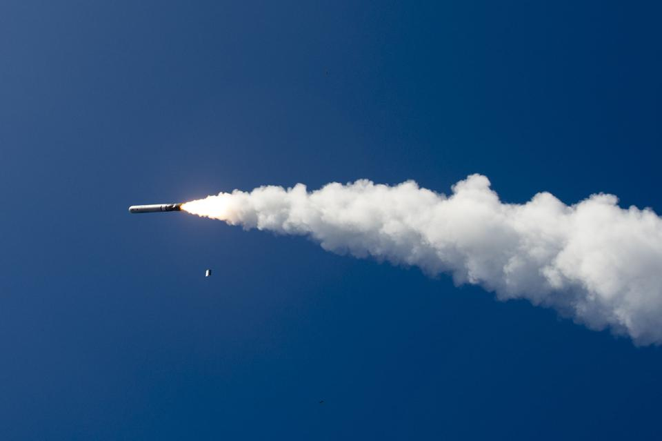A Tomahawk cruise missile in flight.