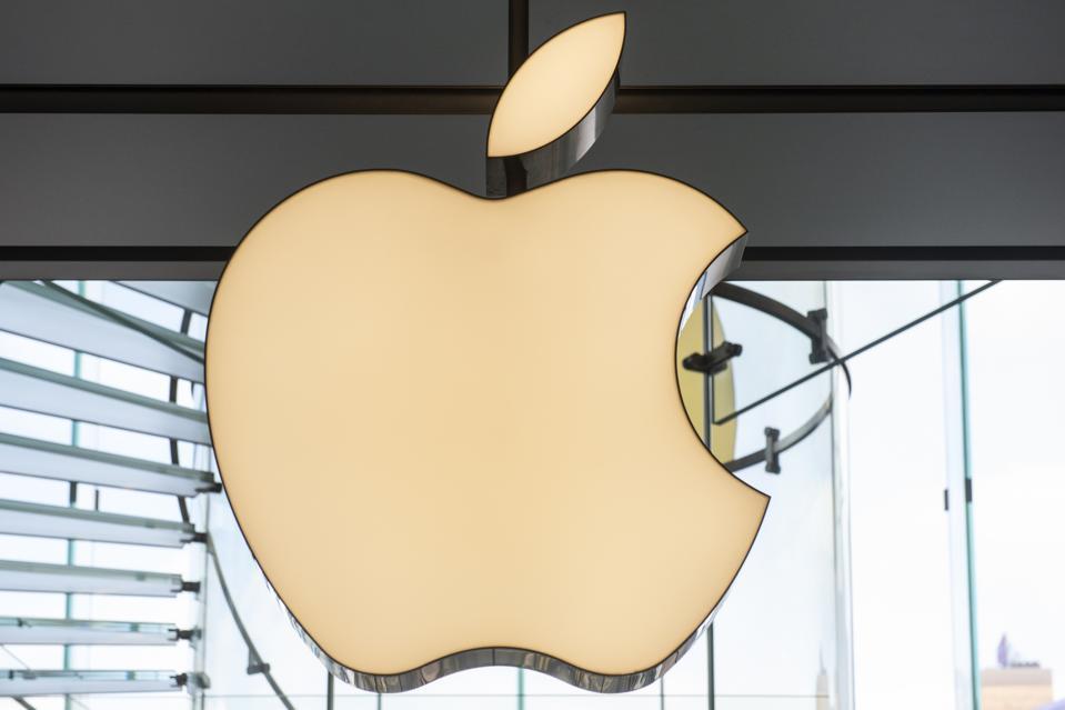 A golden Apple logo