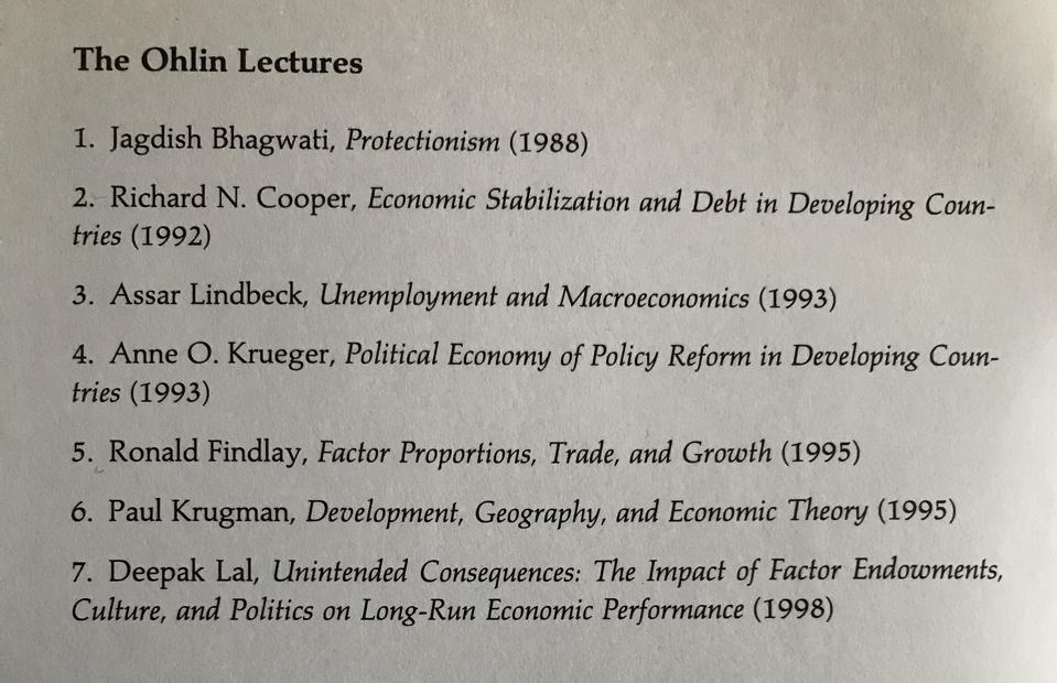 List of Ohlin Lectures from 1988 to 1998