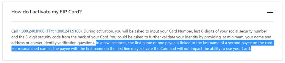 Money Network, the program manager for the Visa stimulus prepaid card, says provides information on what to do if there is a name mismatch on the card.