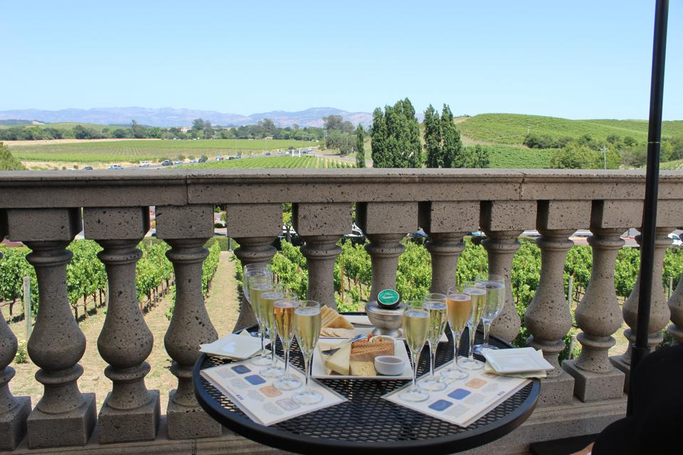 Sparkling wine and caviar at Domaine Carneros in Napa