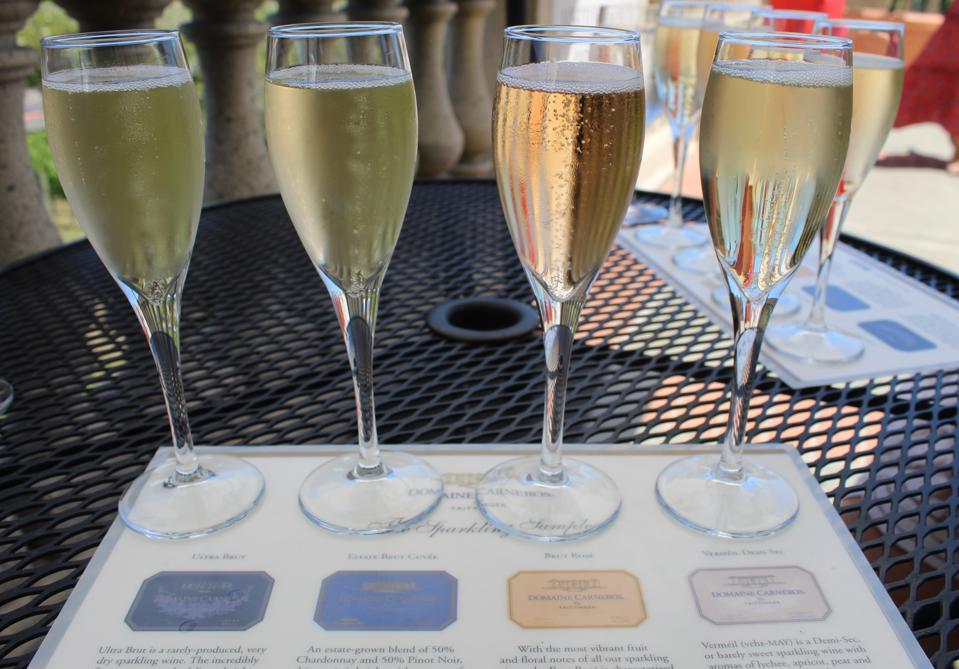 A sparkling wine flight at Domaine Carneros