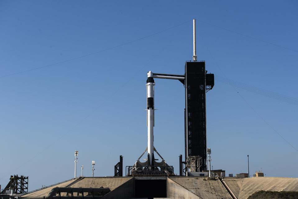 The SpaceX Falcon 9 rocket is ready for launch for the Crew Demo-2 Mission.