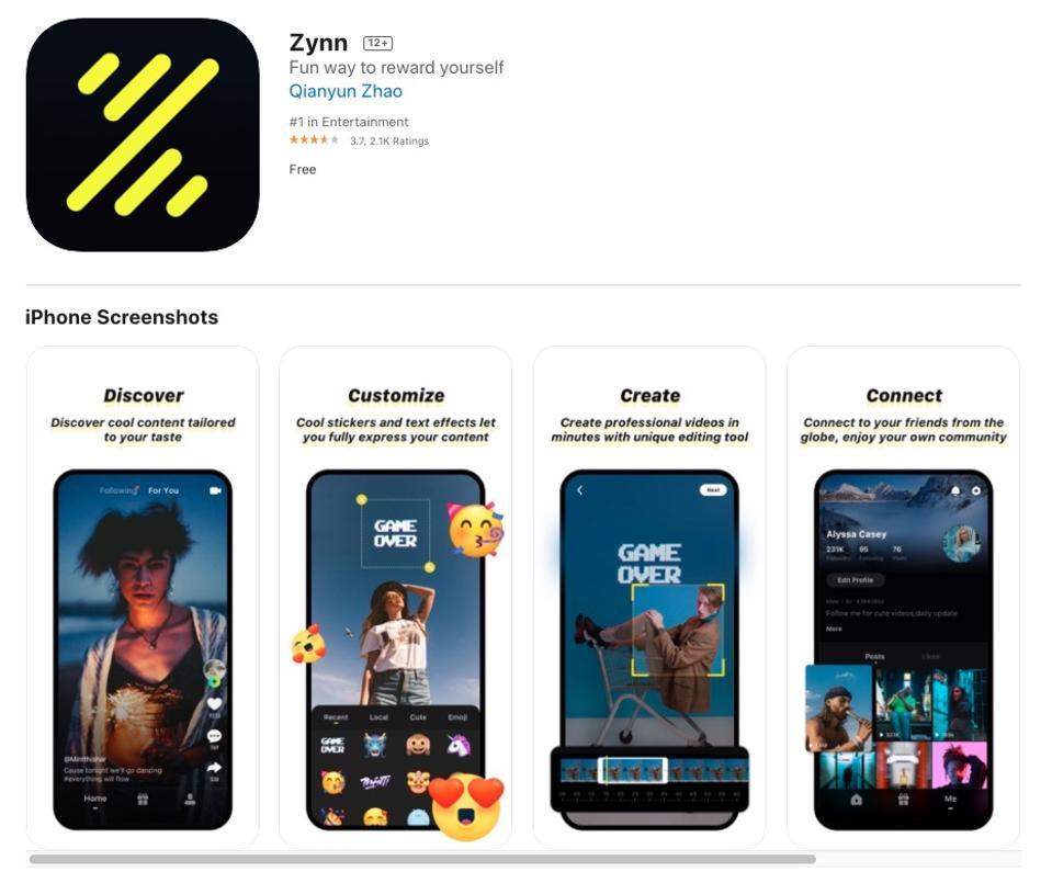 Short-form video app Zynn on the App Store