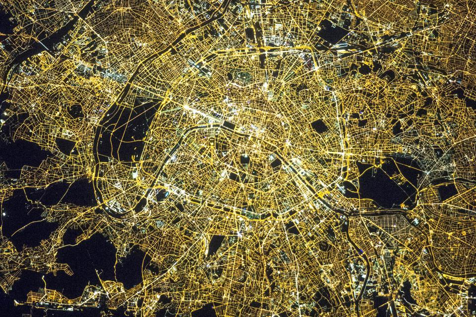 Paris at night, as viewed from the ISS.