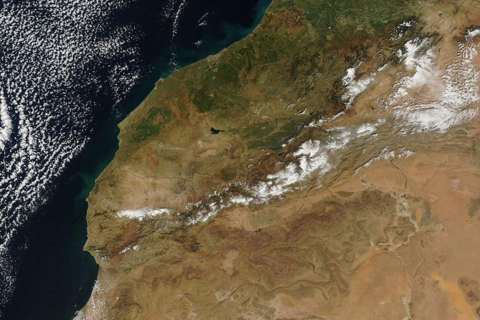 The Coast of Morocco and the Atlas Mountains.