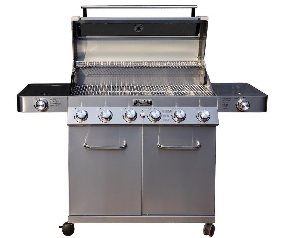 ClearView 6-Burner Propane Gas Grill with Smoke Box, Sear and Side Burners from Monument Grills