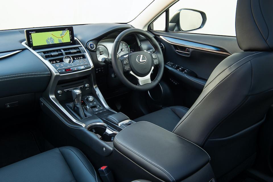 The Lexus NX 300h's interior design is sporty featuring classic premium materials