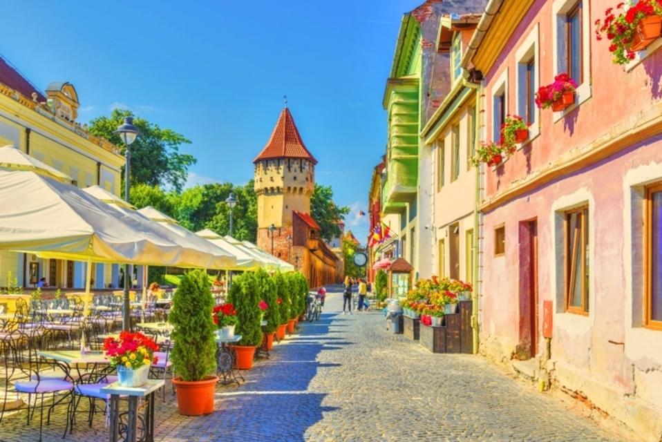 Colorful street in Sibiu, Romania