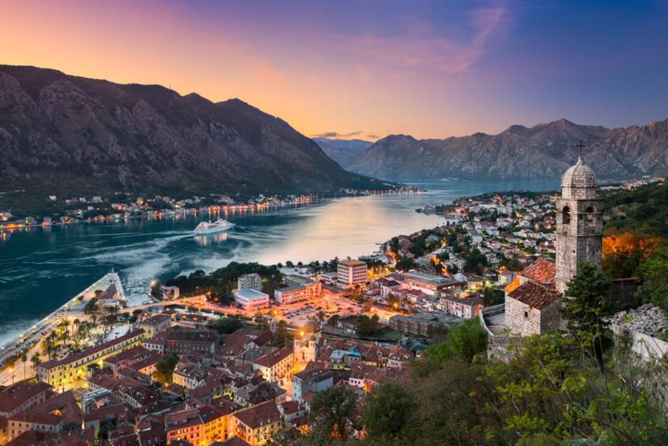 Panoramic view in coastal Kotor, Montenegrp