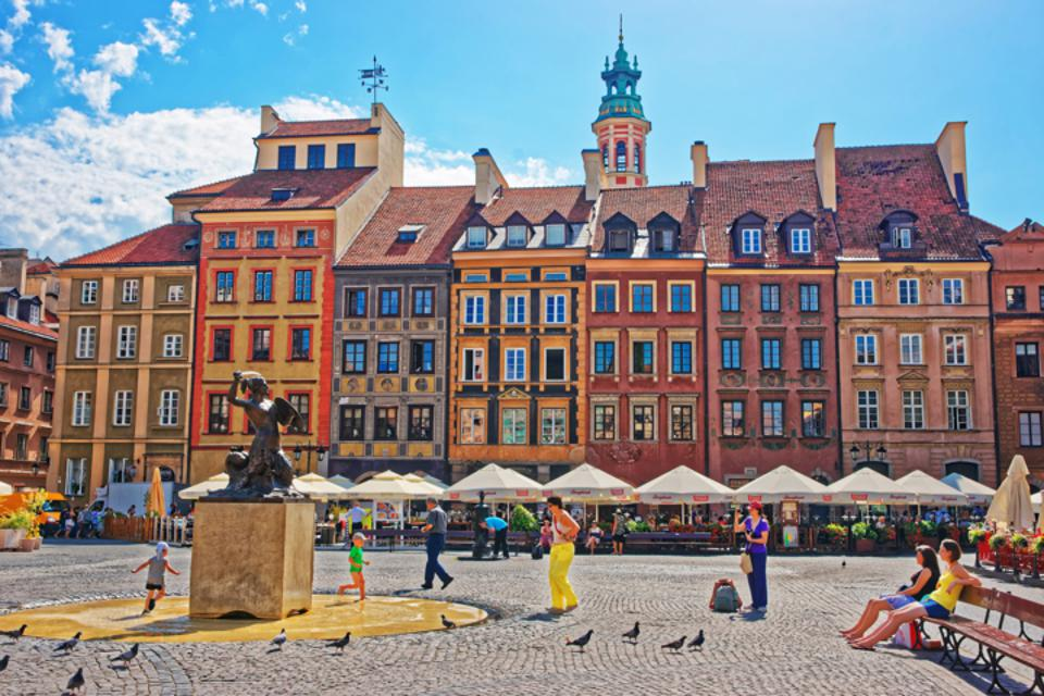 Colorful Plaza in Warsaw, Poland