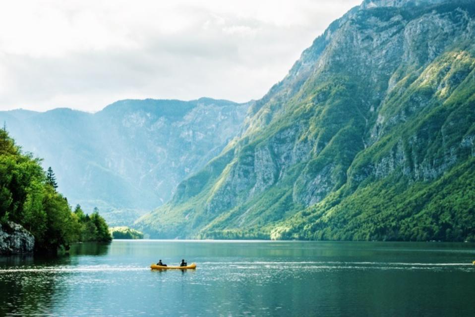 Beautiful scene of lake and mountains in Bohini, Slovenia