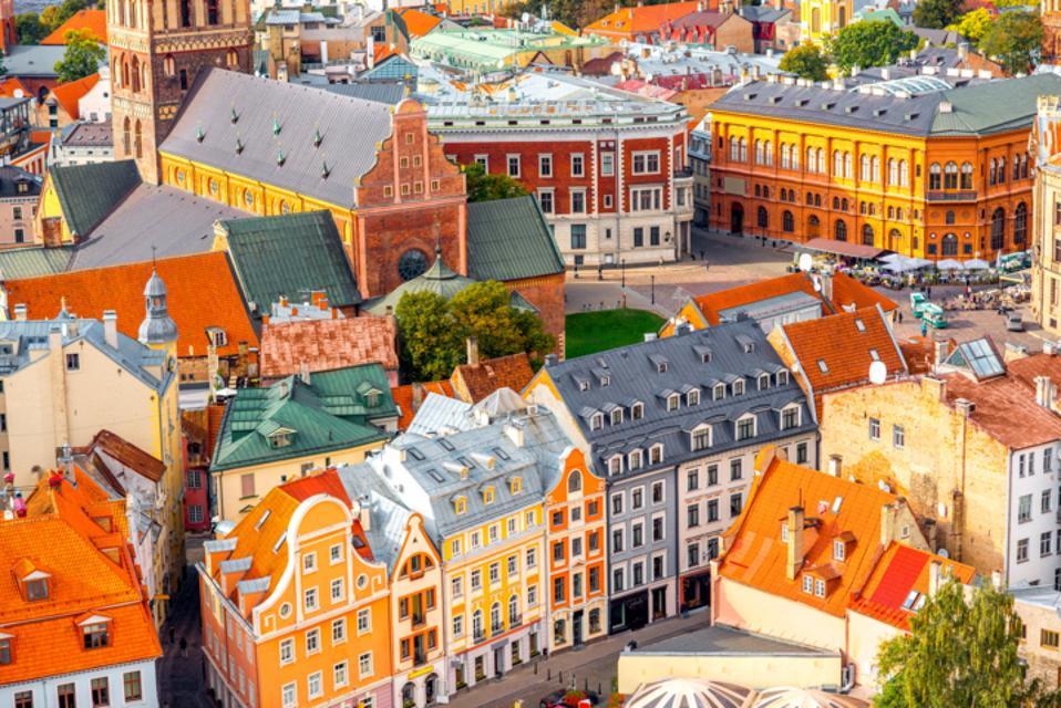 Colorful houses in Riga, Latvia