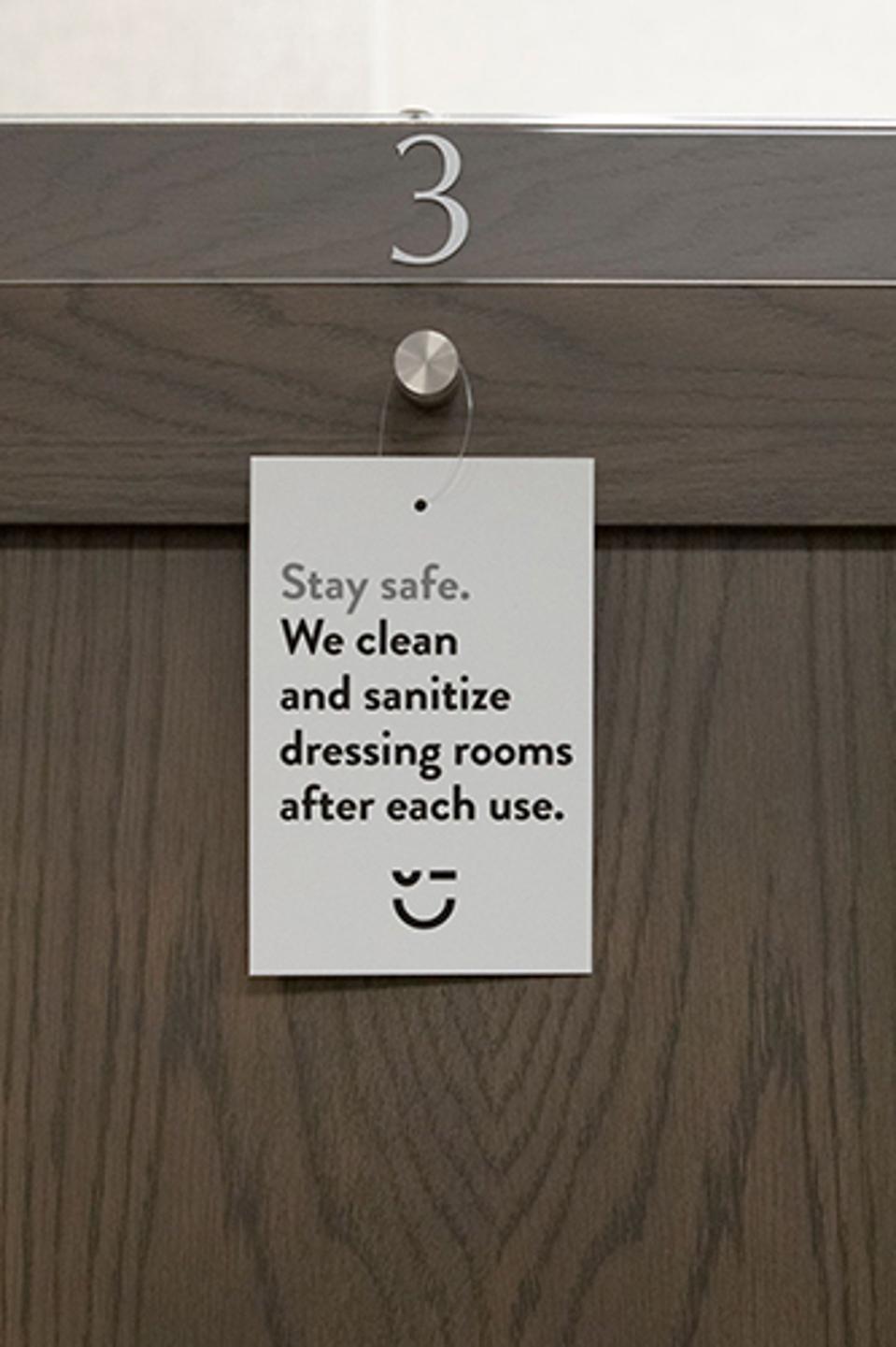 Nordstrom dressing room sign