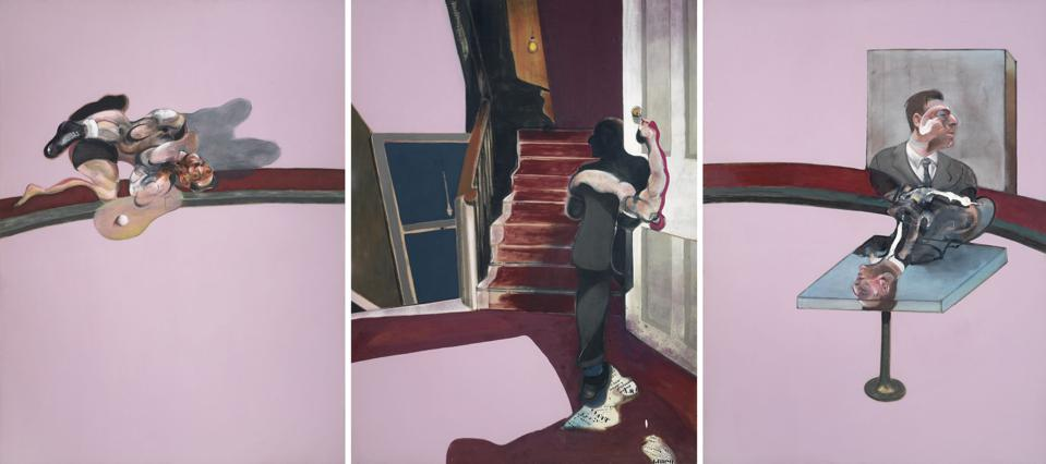 Francis Bacon, 'In Memory of George Dyer,' 1971, oil and transfer letters on canvas. Foundation Beyeler, Riehen/Basel, Beyeler Collection.