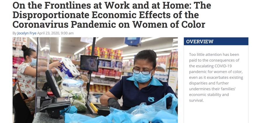 Center for Am Progress article on pandemic economy, women of color, 4-23,2020