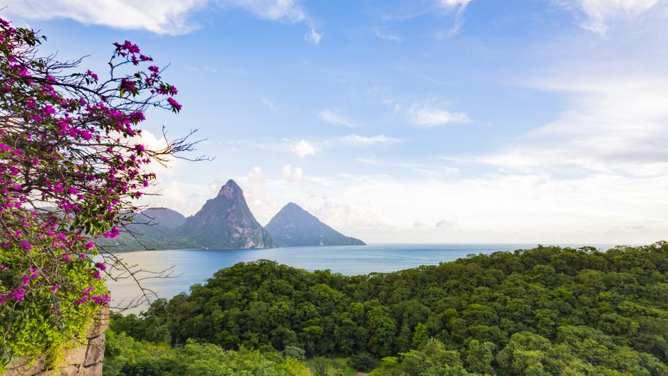 Pitons viewed from Jade Mountain