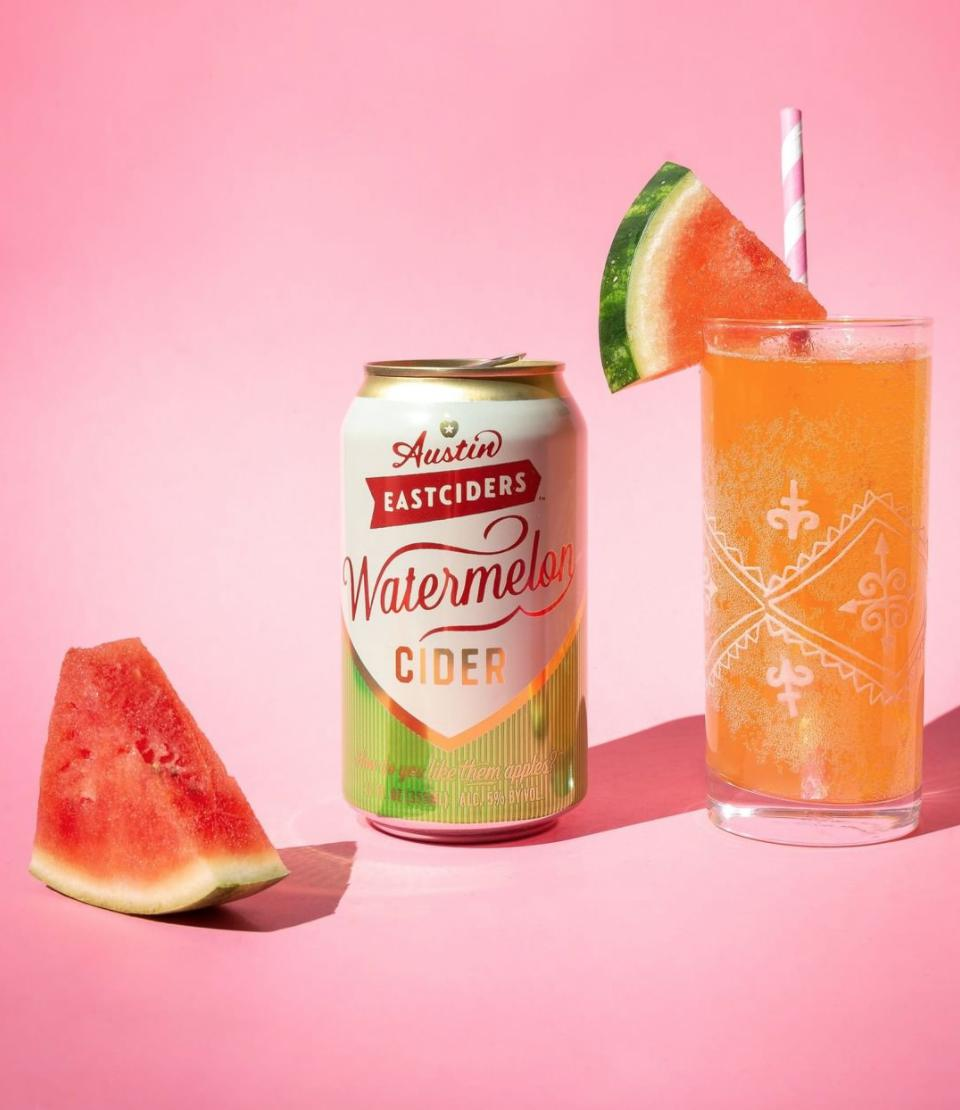 A slice of watermelon, a can of watermelon cider, and The Sandia cocktail
