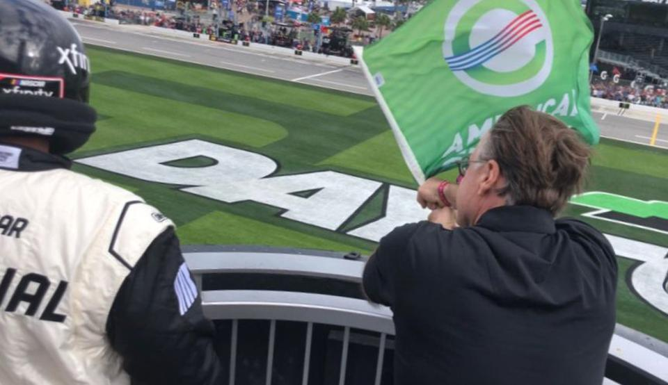 Waving the green flag, pre-COVID-19, at a February Daytona race earlier this year.