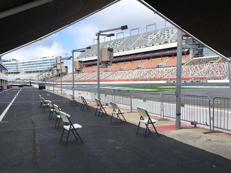 Seats socially-distanced six feet apart at Charlotte Motor Speedway for NASCAR Racing Experience's classes on May 30, 2020.