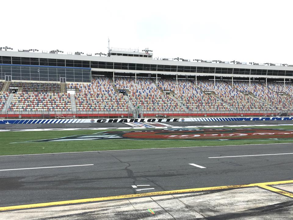 The front straight at Charlotte Motor Speedway, post COVID-19.