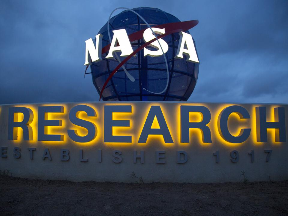The NASA Globe and sign at Langley Research Center.