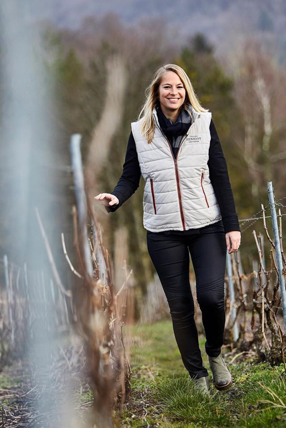 Alice Tétienne, cellar master at Champagne Henriot, in the Vineyards
