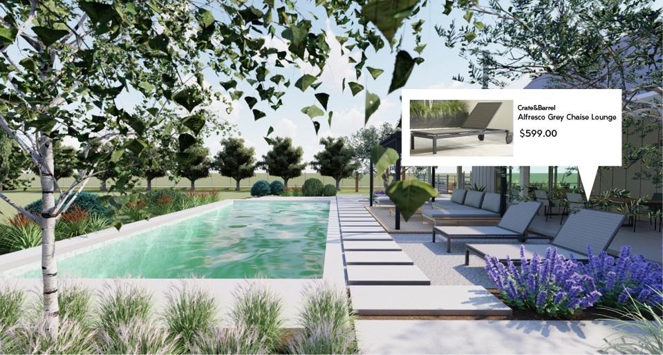 Yardzen landscape designs feature Crate & Barrel outdoor living furnishings