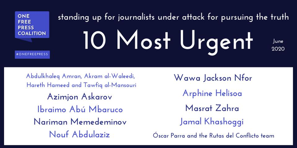 One Free Press  Publishes June ″10 Most Urgent″ List