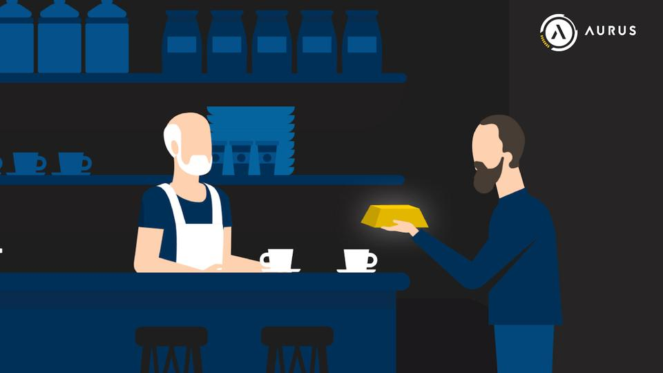 man at coffee shop graphic
