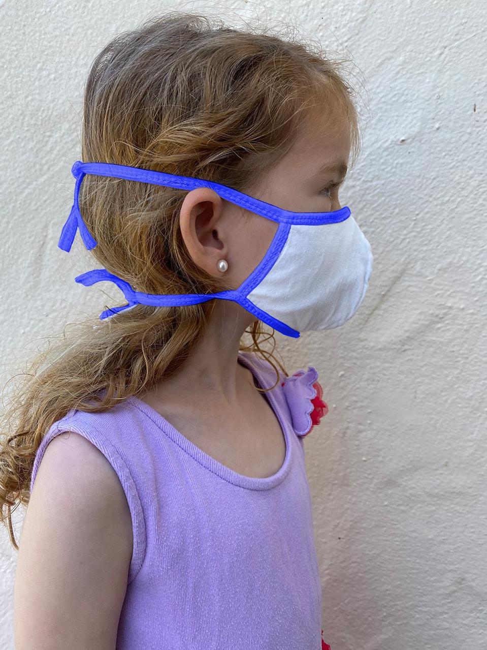 CAMP Collection kids white and blue face mask with ties