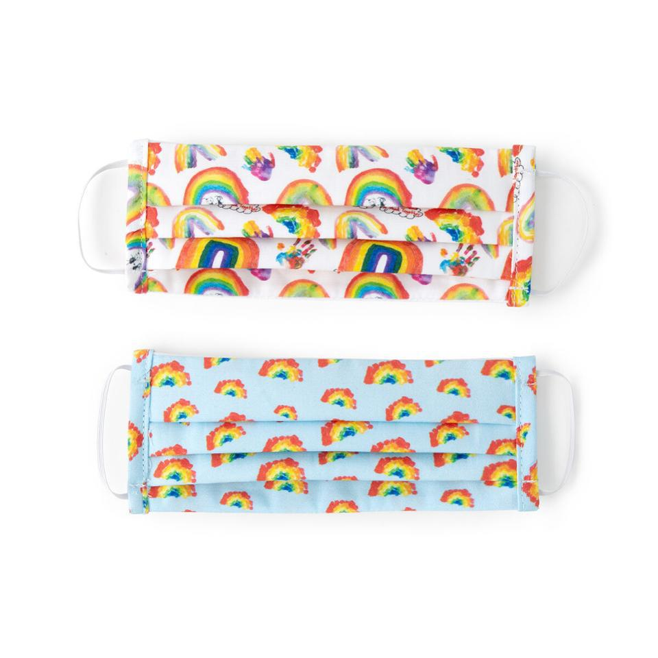 Uncommon Goods kids rainbow printed masks in blue and white