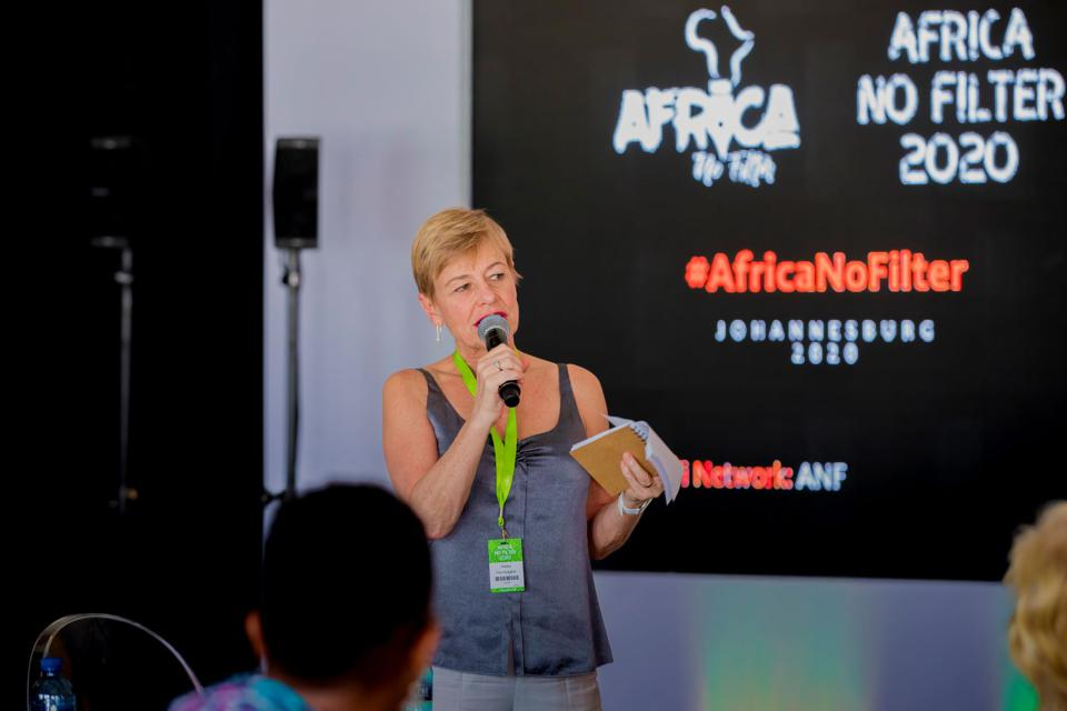 Hilary Pennington speaking at the Ford Foundation's Africa No Filter summit in Johannesburg, South Africa on February 26, 2020.