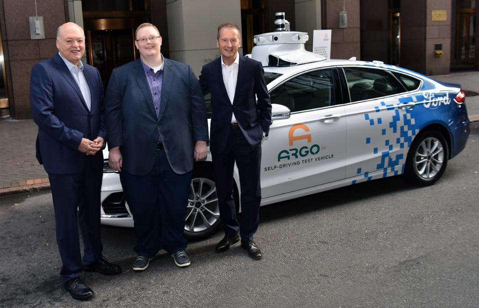 In July 2019, Ford CEO Jim Hackett (left), Argo AI CEO Bryan Salesky (middle) and Volkswagen CEO Herbert Diess announced a collaboration to develop autonomous vehicle technology. Volkswagen's investment deal in Argo AI closed on June 1, 2020.