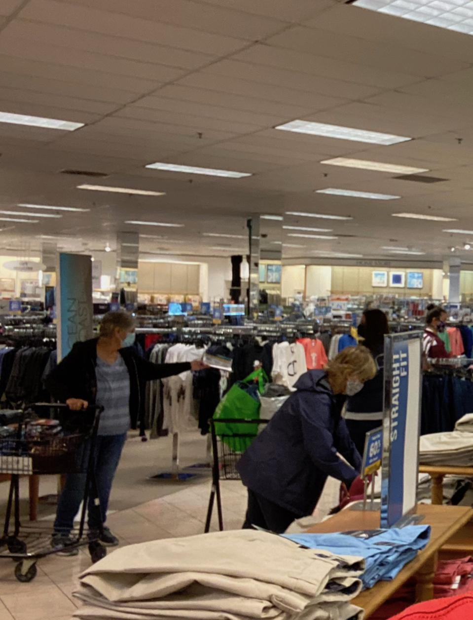 Shoppers at the Belk in Westminster, Maryland.