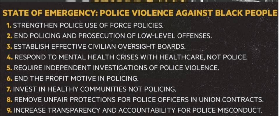 Nine principles for ending police violence against Black lives.