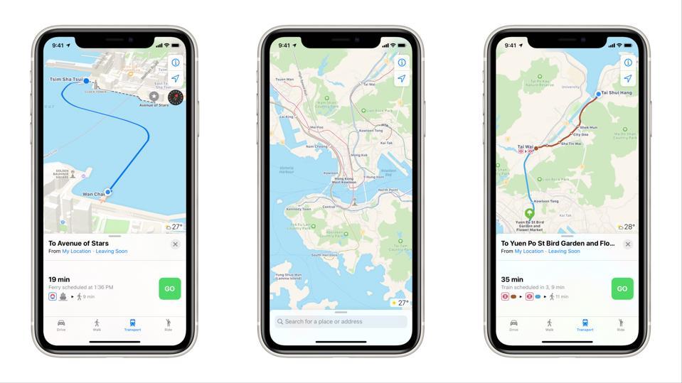 Apple Maps Hong Kong.